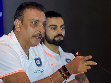 Indian cricket captain Virat Kohli and head coach Ravi Shastri during a press conference ahead of the team's departure for England. PTI