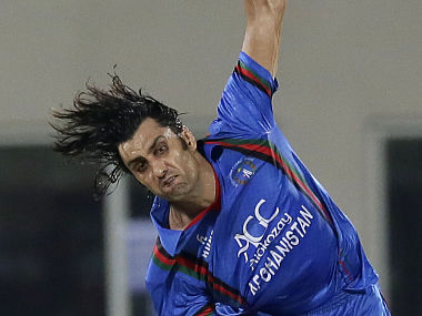 Afghanistan pacer Shapoor Zadran bowls during the first T20 against Bangladesh. AP