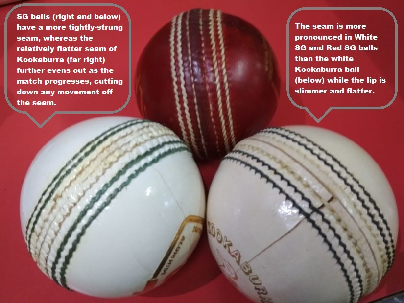 White SG Test and Red SG Test balls. The seam is more pronounced than white Kookaburra and the lip is slimmer and flatter. Image courtesy: Sunny Sports