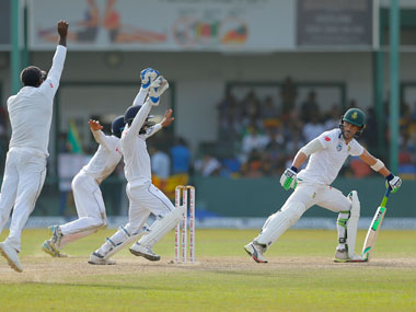Faf du Plessis was caught out by Angelo Matthews after a tricky deliver from Akila Dananjaya. AP