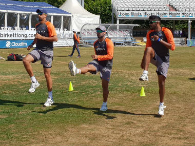 Indian cricket team during a training session at Chelmsford. Image Courtesy: Twitter @BCCI