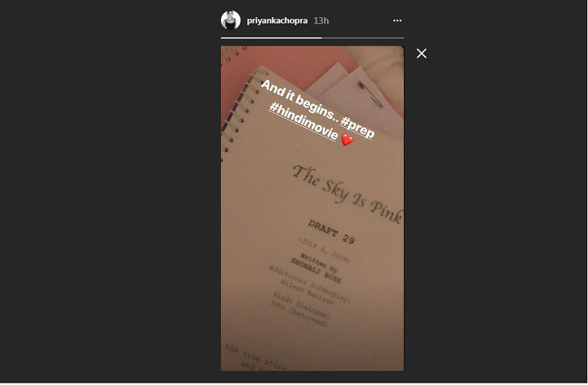 Priyanka Chopra confirms starring in Shonali Boses next titled The Sky is Pink through Instagram story