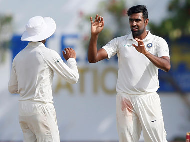 Cricket - Sri Lanka v India - First Test Match - Galle, Sri Lanka - July 29, 2017 - India's Ravichandran Ashwin celebrates with teammates after taking the wicket of Sri Lanka's Niroshan Dickwella (not pictured). REUTERS/Dinuka Liyanawatte - RC191EA53740