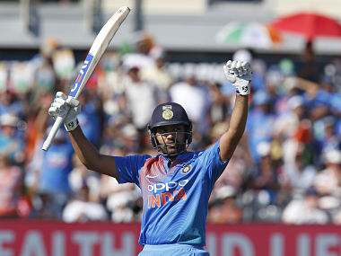 Rohit Sharma celebrates after reaching his century in the 3rd T20I against England. AFP