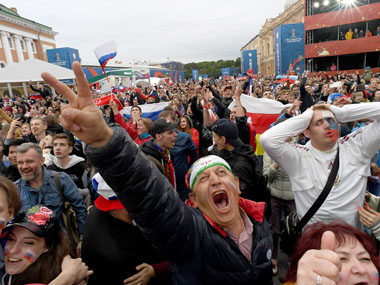 FIFA World Cup 2018 Russian fans party through the night after win against Spain leave piles of garbage on Moscow streets