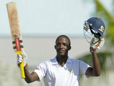 Shamarh Brooks remained steady at one end even as wickets tumbled at the other. Image credit: Twitter/@westindies