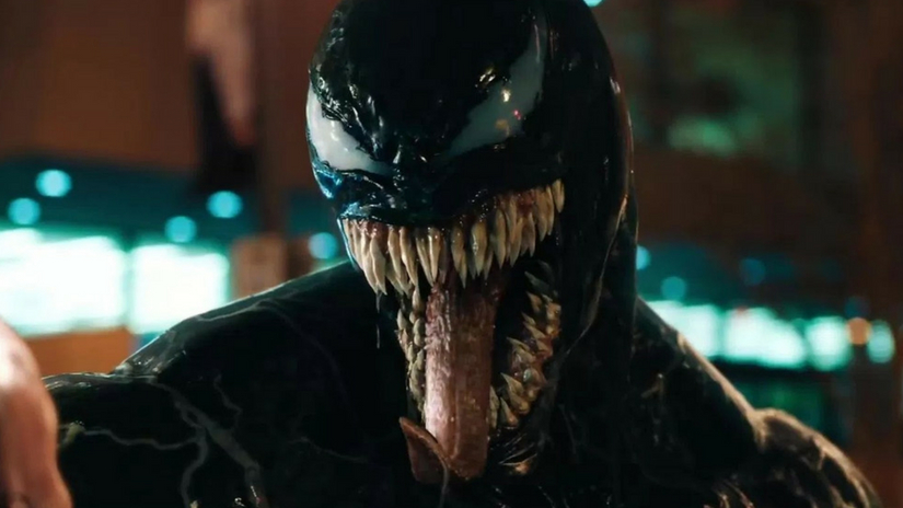 Venom stars Tom hardy Riz Ahmed unveil footage from upcoming SpiderMan spinoff at San Diego ComicCon