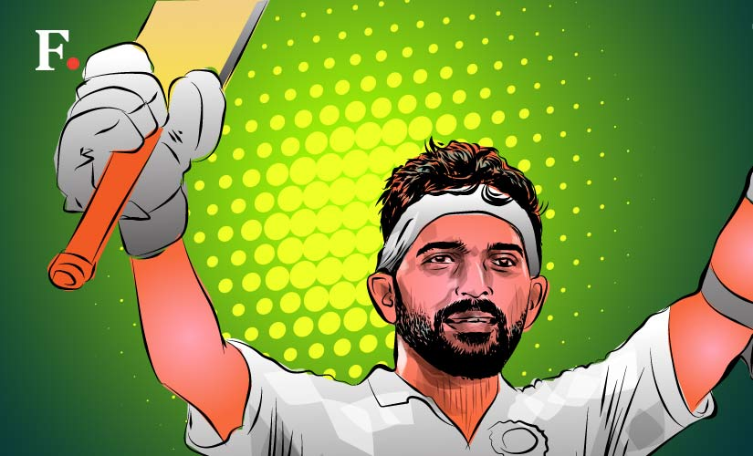 Ajinkya Rahane averages a mere 37 on the slow, low, turning tracks of Asia, but on the foreign pitches, his average skews over 50. Artwork by Rajan Gaikwad