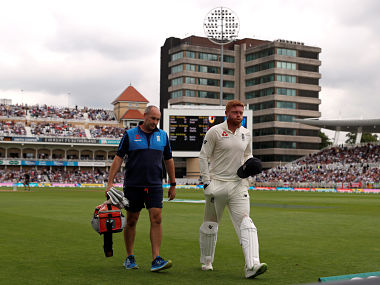 Cricket - England v India - Third Test - Trent Bridge, Nottingham, Britain - August 20, 2018 England's Jonny Bairstow leaves the field after sustaining an injury Action Images via Reuters/Paul Childs - RC17F6C46290