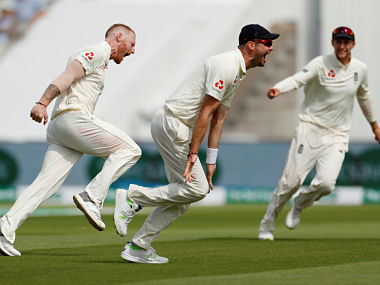 England's Ben Stokes celebrates the wicket of India's Mohammed Shami with team mates Action Images via Reuters/Andrew Boyers - RC143C1F2F70