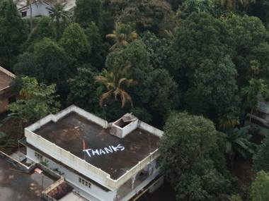 Giant Thanks painted on roof of Kerala house from where navy evacuated two distressed women