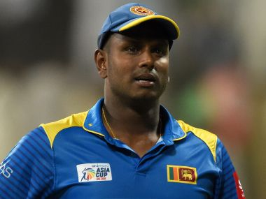 Sri Lanka's captain Angelo Mathews looks on after their defeat to Afghanistan. AFP