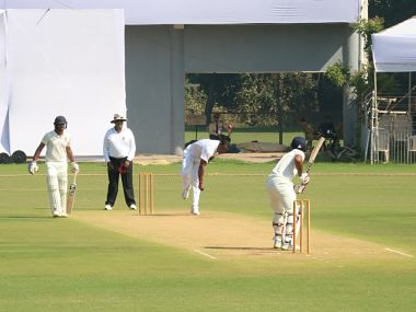 Windies batsmen in action on Day 2 of the two-day warm-up game against Board President's XI. Image courtesy: Twitter @windiescricket