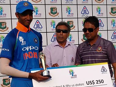 India U-19 opener Devdutt Padikkal was adjudged the 'Player of the Match' for his 115-ball 121-run knock. Image courtesy: Twitter @BCCI