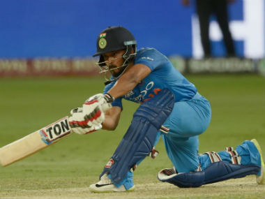 Kedar Jadhav remained unbeaten on 23, guiding India to victory despite a hamstring niggle. Image credit: Twitter/@ICC