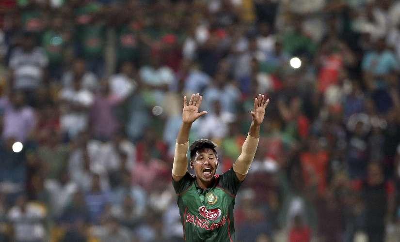 Bangladesh's Mustafizur Rahman appeals for a wicket. AP Photo
