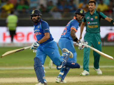 Rohit Sharma (left) and Shikhar Dhawan added 210 runs for the first wicket against Pakistan on Sunday. AFP
