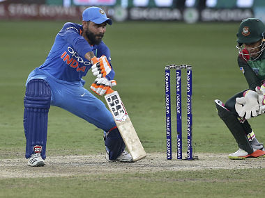 India's Ravindra Jadeja bats during the final one day international cricket match of Asia Cup between India and Bangladesh, in Dubai. AP