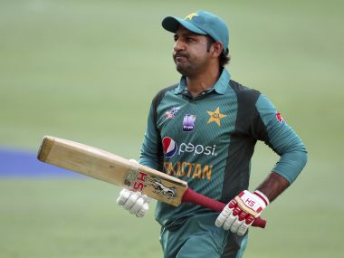 Pakistan's captain Sarfraz Ahmed reacts after being dismissed against India. AP Photo
