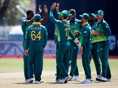 South Africa beat Zimbabwe by five wickets in the first ODI at the Diomand Oval. Image courtesy: Twitter @ICC