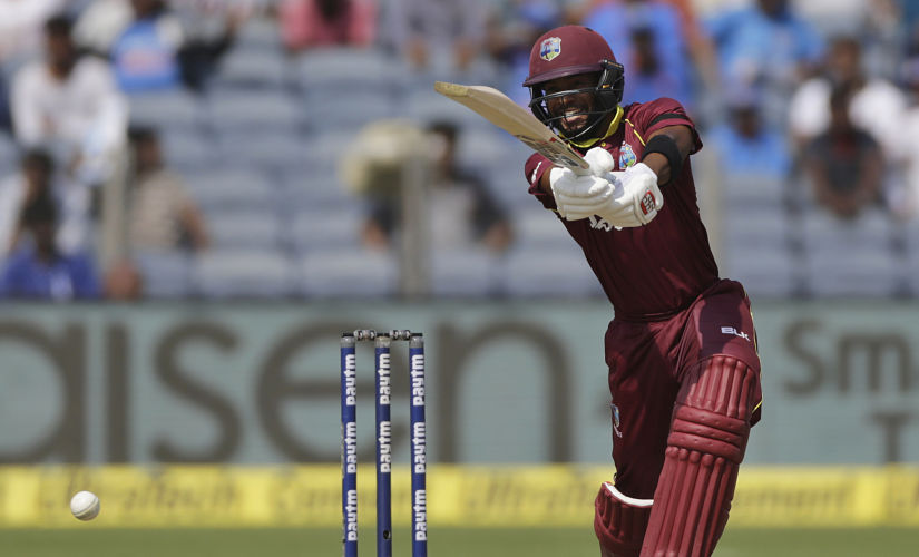 West Indies' batsman Shai Hope plays a shot during the third one-day international cricket match between India and West Indies in Pune, India, Saturday, Oct. 27, 2018. (AP Photo/Rajanish Kakade)
