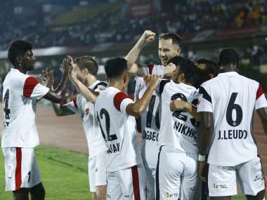 ISL 201819 Tenman NorthEast United hold Jamshedpur FC to return to the top of the table