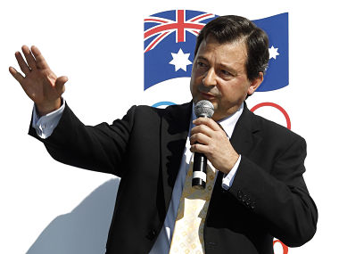 Rio Tinto managing director of operations in Australia, David Peever, gestures during a media event in Sydney to announce the company's sponsorship of the Australian Olympic Committee April 14, 2011. REUTERS/Tim Wimborne (AUSTRALIA - Tags: ENERGY SPORT OLYMPICS BUSINESS) - GM1E74E0SSJ01