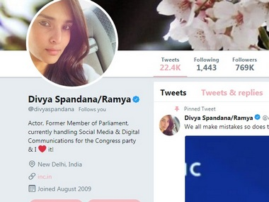 Divya Spandanas missing Twitter bio fuels rumours of her quitting Congress post party leader rubbishes speculations