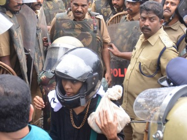 Sabarimala protests day 3 Two women abandon visit to shrine third stopped at Pamba as cops plead helplessness