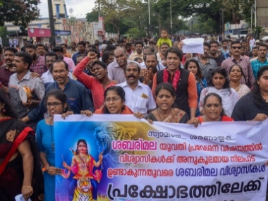 Hindu groups stage protests in Kerala against SCs Sabarimala verdict TDP president leads Trivandrum rally