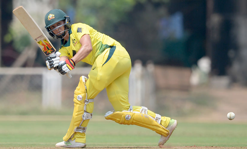 Australia batswoman Ashleigh Gardner plays a shot during a one-day warm-up cricket match against the India A team at the Mumbai Cricket Association Ground in Mumbai on March 6, 2018. (Photo by PUNIT PARANJPE / AFP) / ----IMAGE RESTRICTED TO EDITORIAL USE - STRICTLY NO COMMERCIAL USE----- / GETTYOUT