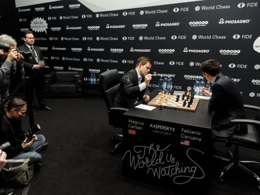 World Chess Championship Magnus Carlsen Fabiano Caruana set record for longest streak of draws after ninth successive stalemate