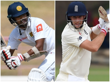 Dinesh Chandimal and Joe Root, the two captains. AFP