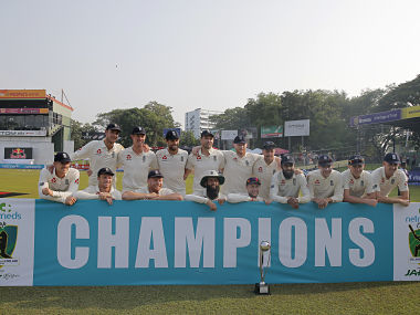 Members of the England cricket team pose for a group photo after series win over Sri Lanka. AP