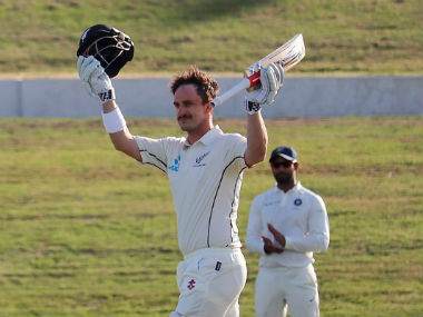 Hamish Rutherford was unbeaten on 106 at stumps on Day 2. Image credit: Twitter/@BlackCaps