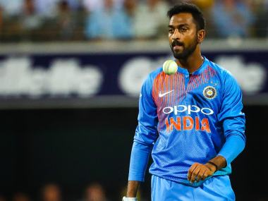 Krunal Pandya conceded 55 runs in his four overs in first T20I between India and Australia. AFP