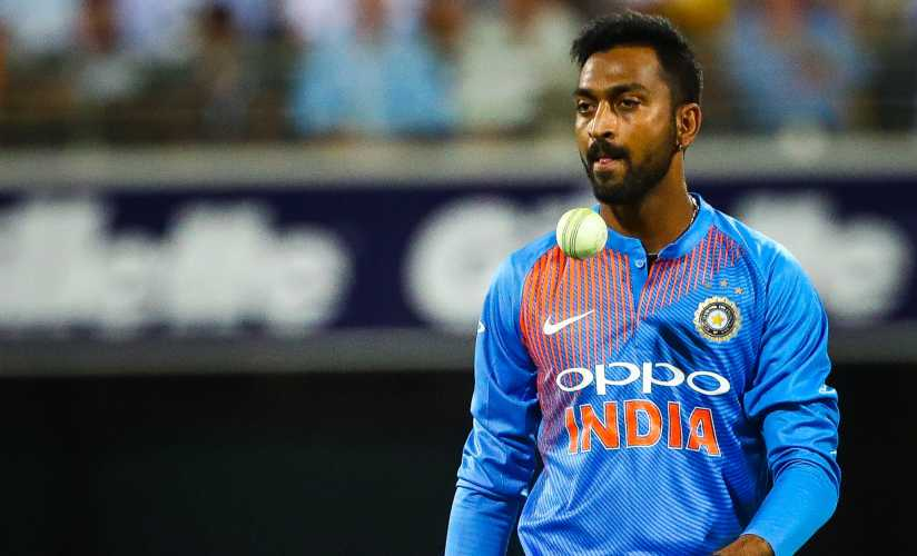 Krunal Pandya took four for 36 in the third T20I. AFP