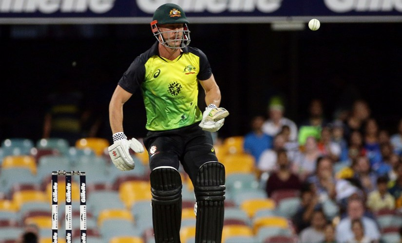 Chris Lynn in action during the first T20I. AP