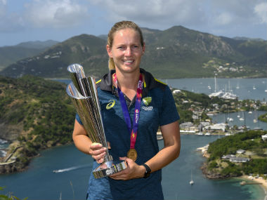 Australia captain Meg Lanning poses with the trophy after leading her team to a fourth Women's World T20 title. AFP