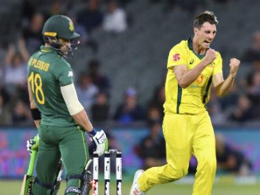 Pat Cummins celebrates after dismissing South Africa skipper Faf du Plessis. AP