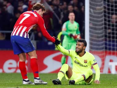 LaLiga Barcelona midfielder Rafinha ruptures anterior cruciate ligament in draw with Atletico Madrid