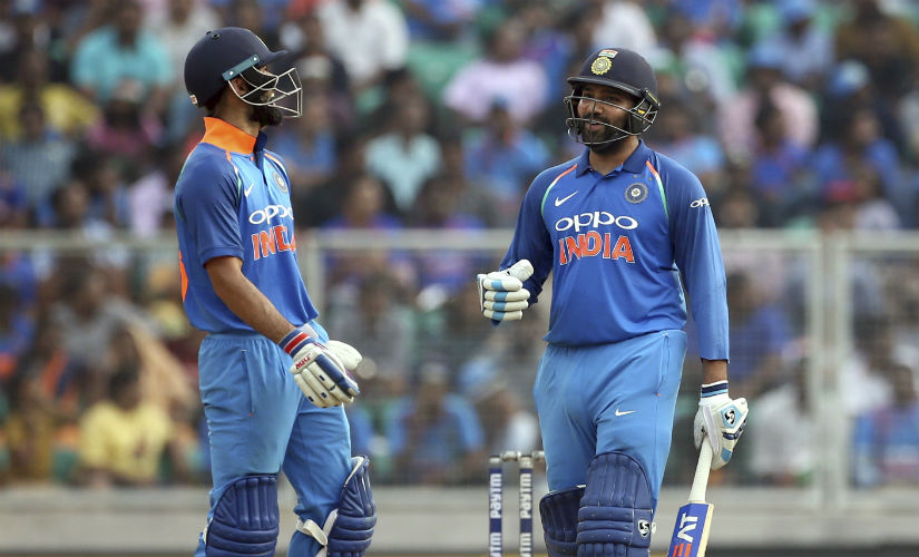 Rohit Sharma slammed a quickfire 63 off 56 balls, sharing an unbeaten 99-run stand with Virat Kohli. AP