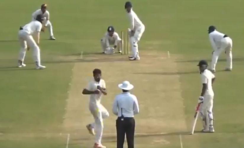 Screengrab of Shiva Singh bowling during the CK Nayudu fixture. Image credit: Twitter/@BishanBedi