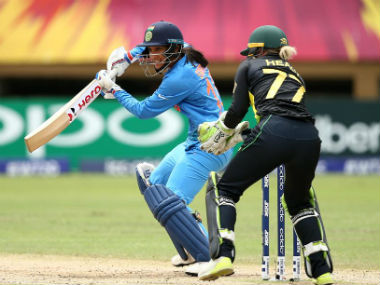 Smriti Mandhana top-scored for India with a blazing 83 off 55 balls. Image credit: Twitter/@WorldT20