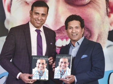 VVS Laxman launched his book '281 and Beyond' in Mumbai on Thursday. PTI