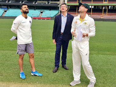 Virat Kohli calls during toss on the second day of the warm-up fixture against Cricket Australia XI. image credit: Twitter/@BCCI