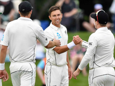 Trent Boult claimed his career best figures on Day 2 of the Christchurch Test. AFP