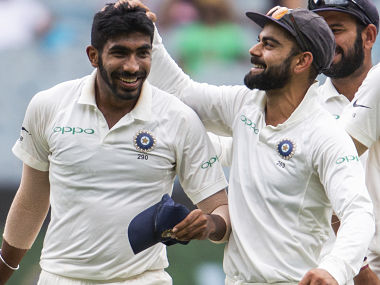 Jasprit Bumrah celebrates taking the wicket of Shaun Marsh on Day 3 of the 3rd Test against Australia in MCG. AP