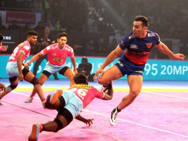 Pro Kabaddi League 2018 Jaipur Pink Panthers stage fine comeback to eke out a tie against Dabang Delhi