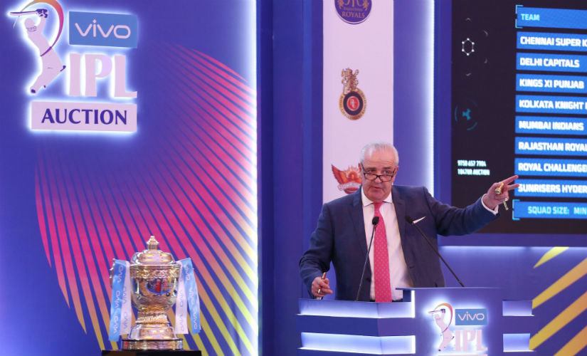 Auctioneer Hugh Edmeades conducts the IPL 2019 player auction in Jaipur. Sportzpics